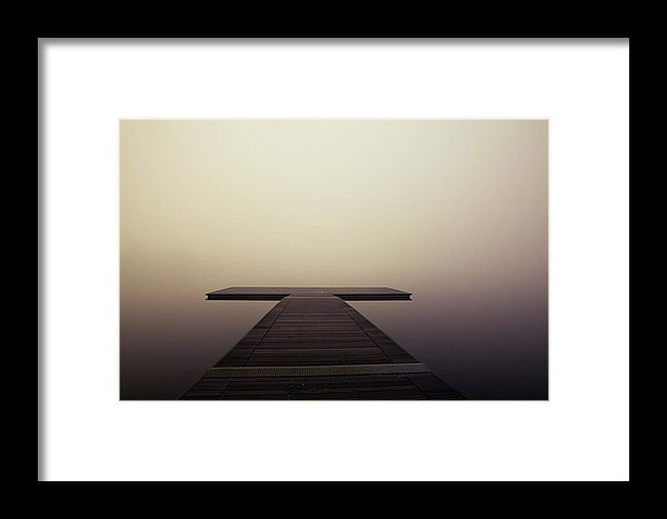 Calm Brown Boardwalk In Fog - Framed Print from Wallasso - The Wall Art Superstore