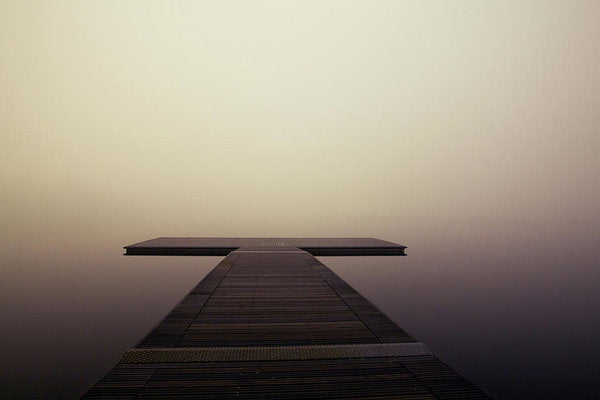 Calm Brown Boardwalk In Fog - Art Print from Wallasso - The Wall Art Superstore