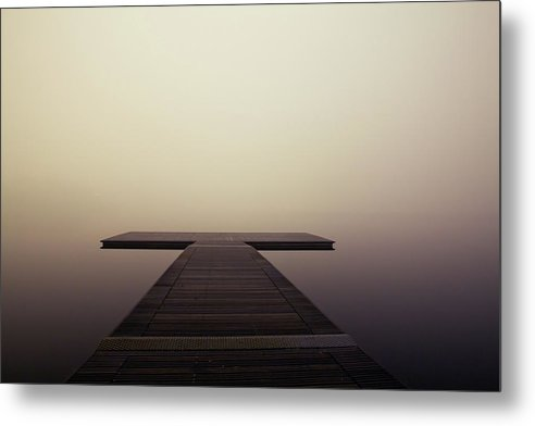 Calm Brown Boardwalk In Fog - Metal Print from Wallasso - The Wall Art Superstore
