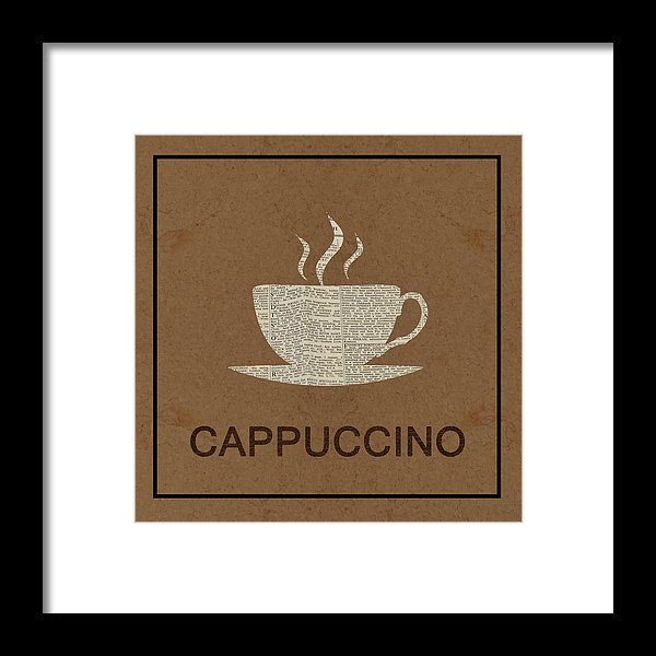 Cappuccino Newspaper Design - Framed Print from Wallasso - The Wall Art Superstore