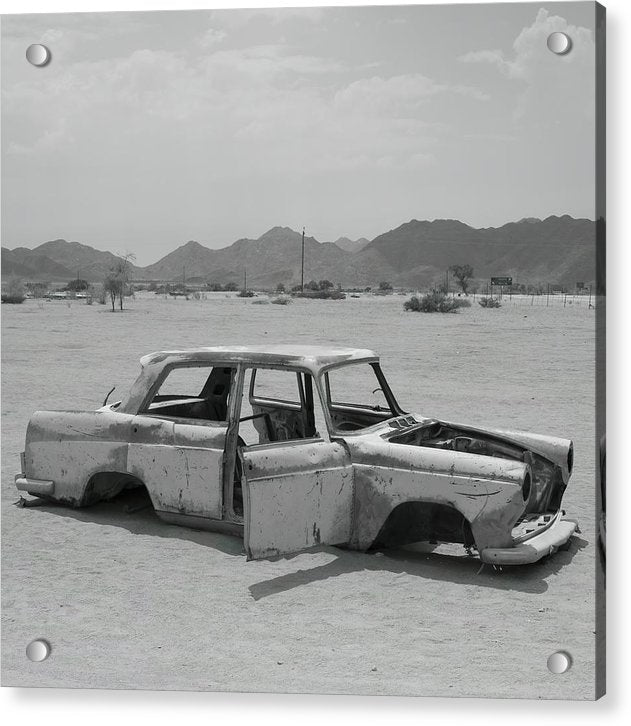 Car Abandoned In Desert - Acrylic Print from Wallasso - The Wall Art Superstore