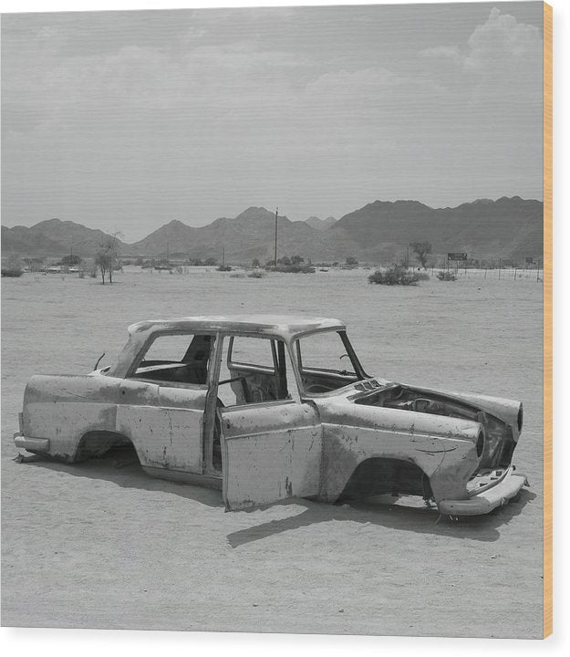 Car Abandoned In Desert - Wood Print from Wallasso - The Wall Art Superstore