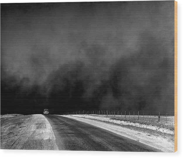 Car Driving Away From Dark Storm - Wood Print from Wallasso - The Wall Art Superstore
