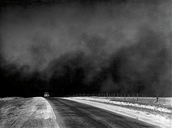 Car Driving Away From Dark Storm - Art Print from Wallasso - The Wall Art Superstore
