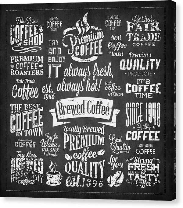Chalkboard Coffee Typography Collage - Canvas Print from Wallasso - The Wall Art Superstore