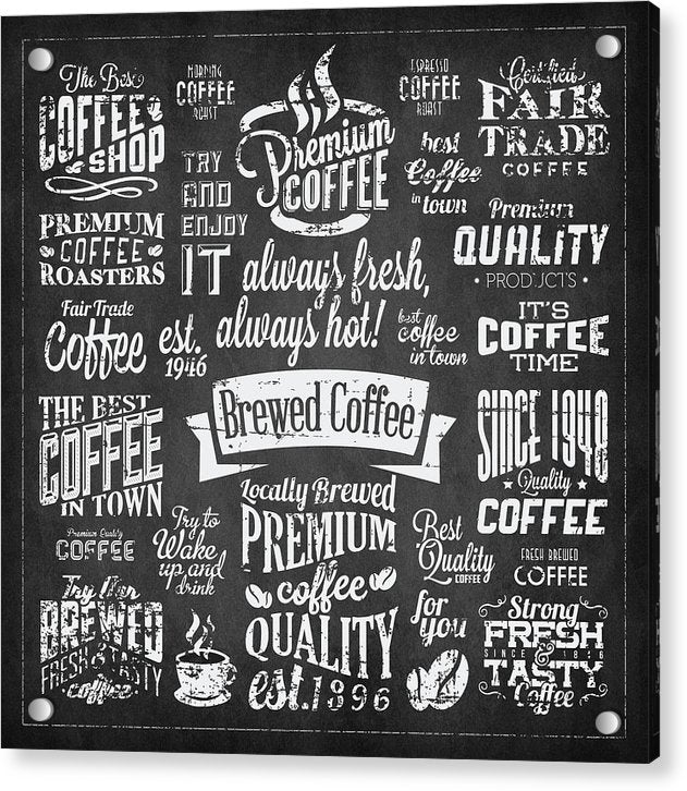 Chalkboard Coffee Typography Collage - Acrylic Print from Wallasso - The Wall Art Superstore
