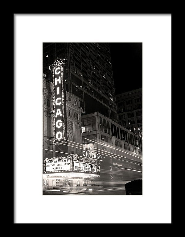 Chicago Theatre Sign, Sepia - Framed Print from Wallasso - The Wall Art Superstore