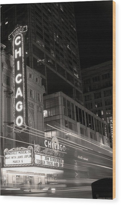 Chicago Theatre Sign, Sepia - Wood Print from Wallasso - The Wall Art Superstore