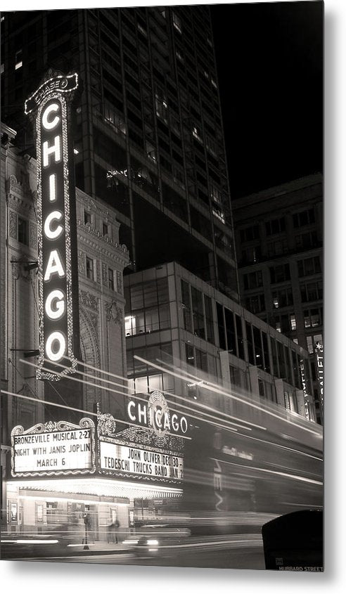 Chicago Theatre Sign, Sepia - Metal Print from Wallasso - The Wall Art Superstore