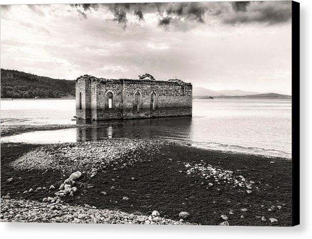 Church Ruins In Lake - Canvas Print from Wallasso - The Wall Art Superstore