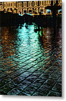 City Lights At Night Reflected On Wet Cobblestone - Metal Print from Wallasso - The Wall Art Superstore