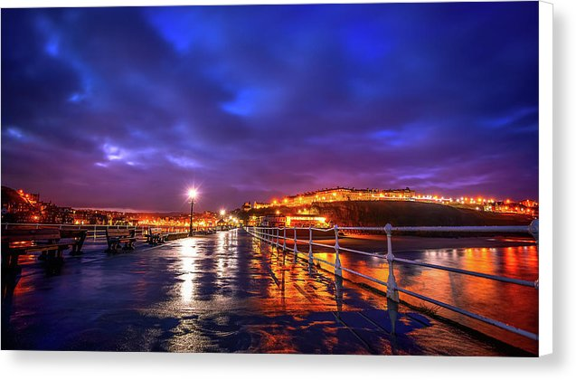 City Lights At Night Reflected On Wet Pier - Canvas Print from Wallasso - The Wall Art Superstore