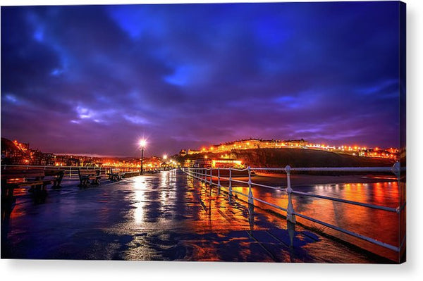 City Lights At Night Reflected On Wet Pier - Acrylic Print from Wallasso - The Wall Art Superstore