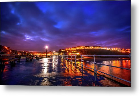 City Lights At Night Reflected On Wet Pier - Metal Print from Wallasso - The Wall Art Superstore