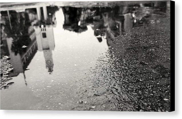 City Reflected In Rain Puddle - Canvas Print from Wallasso - The Wall Art Superstore