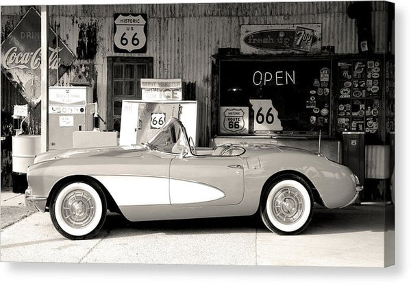 Classic 1956 Chevrolet Corvette At Vintage Gas Station - Canvas Print from Wallasso - The Wall Art Superstore