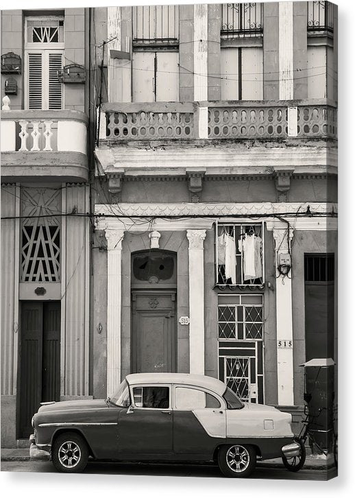 Classic Car Parked In Havana Cuba Neighborhood - Canvas Print from Wallasso - The Wall Art Superstore