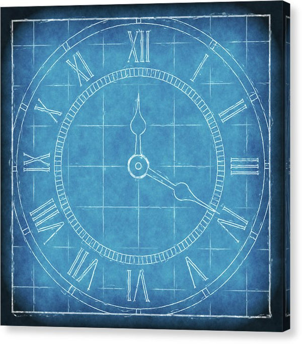 Clock Blueprint - Canvas Print from Wallasso - The Wall Art Superstore