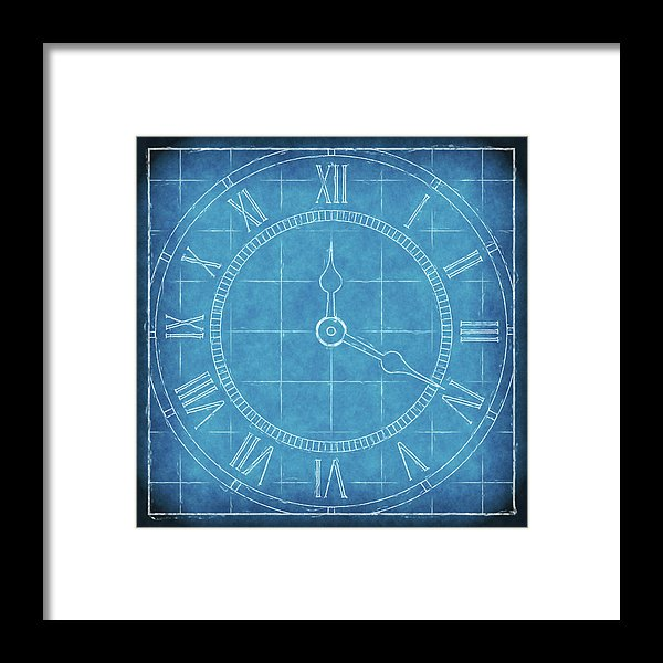 Clock Blueprint - Framed Print from Wallasso - The Wall Art Superstore