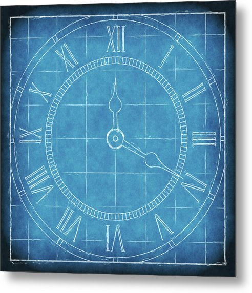 Clock Blueprint - Metal Print from Wallasso - The Wall Art Superstore