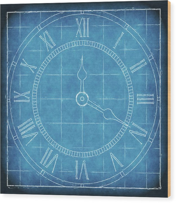 Clock Blueprint - Wood Print from Wallasso - The Wall Art Superstore