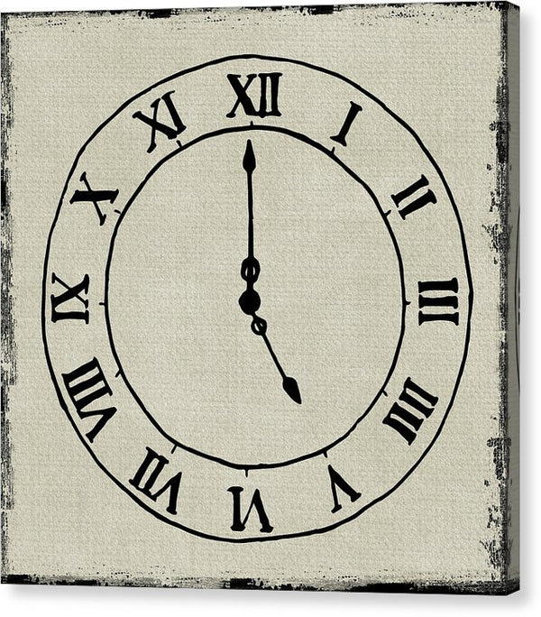 Clock Design With Burlap Texture - Canvas Print from Wallasso - The Wall Art Superstore
