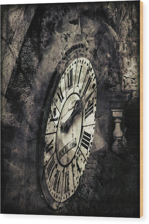 Clock Face With Grunge Texture - Wood Print from Wallasso - The Wall Art Superstore