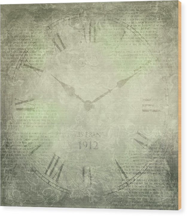 Clock Face With Print Texture - Wood Print from Wallasso - The Wall Art Superstore