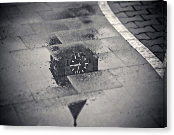 Clock Tower Reflected In Water - Canvas Print from Wallasso - The Wall Art Superstore