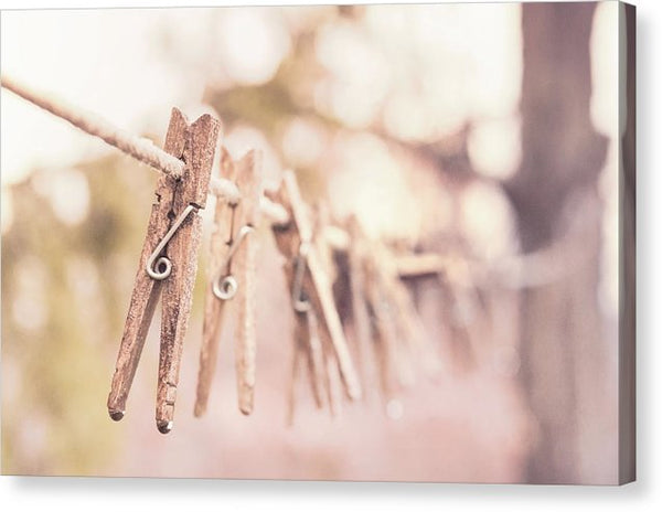 Clothespins On Clothesline - Canvas Print from Wallasso - The Wall Art Superstore