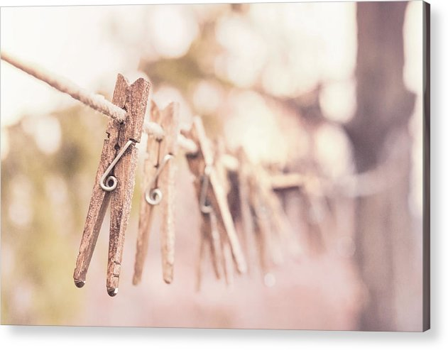 Clothespins On Clothesline - Acrylic Print from Wallasso - The Wall Art Superstore