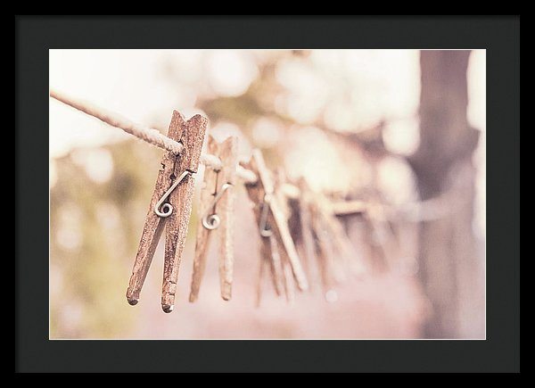 Clothespins On Clothesline - Framed Print from Wallasso - The Wall Art Superstore