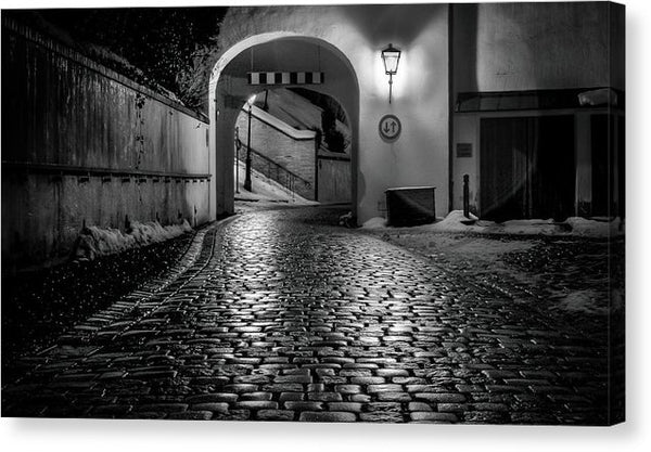 Cobblestone Street At Night - Canvas Print from Wallasso - The Wall Art Superstore