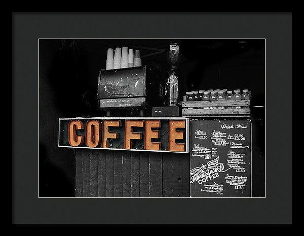 Coffee Sign, Pop of Color - Framed Print from Wallasso - The Wall Art Superstore