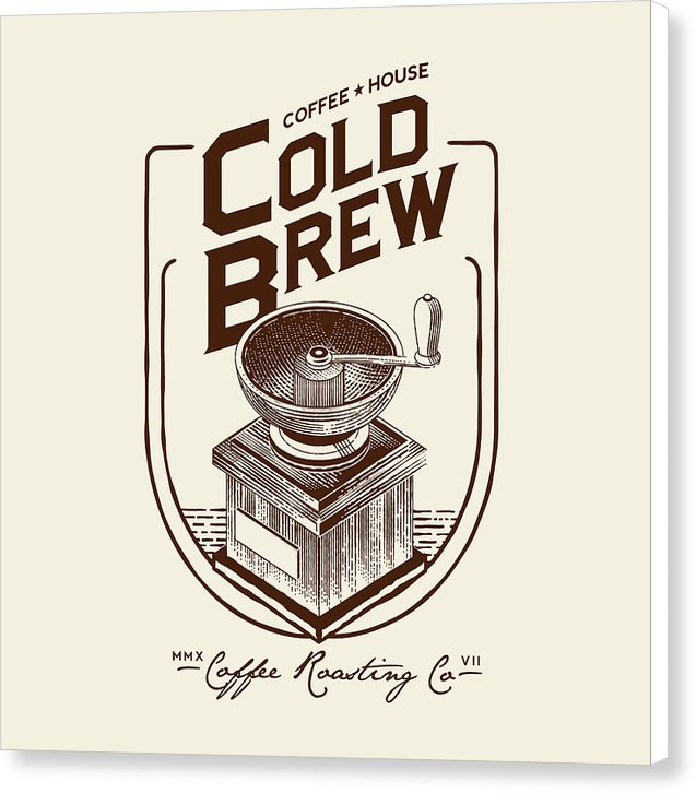 Cold Brew Coffee House Grinder Sign - Canvas Print from Wallasso - The Wall Art Superstore