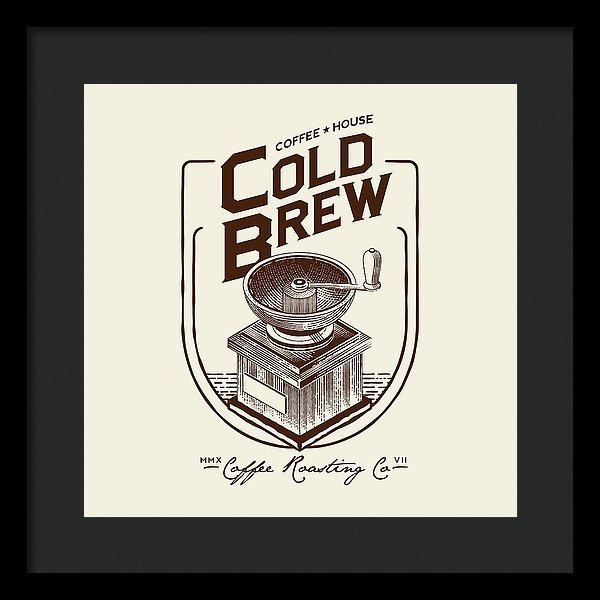 Cold Brew Coffee House Grinder Sign - Framed Print from Wallasso - The Wall Art Superstore