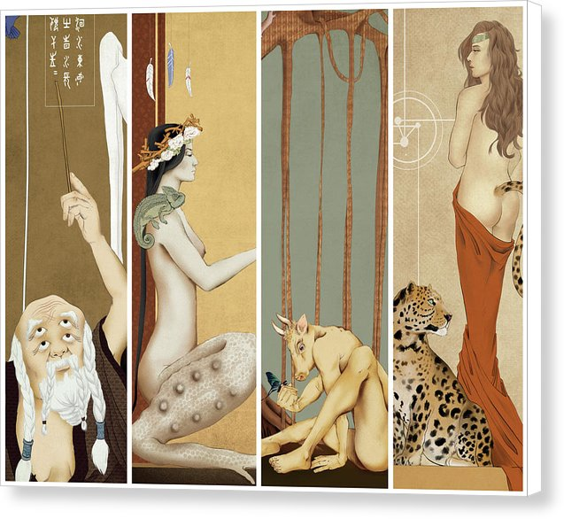 Collage of Surreal Chinese Paintings - Canvas Print from Wallasso - The Wall Art Superstore