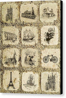 Collage of Travel Related Stone Tiles - Canvas Print from Wallasso - The Wall Art Superstore