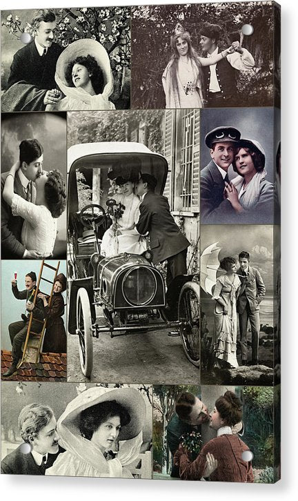 Collage of Vintage Romance Photos - Acrylic Print from Wallasso - The Wall Art Superstore