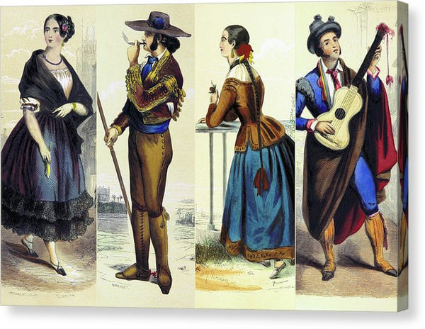 Collage of Vintage Spanish People Illustrations - Canvas Print from Wallasso - The Wall Art Superstore