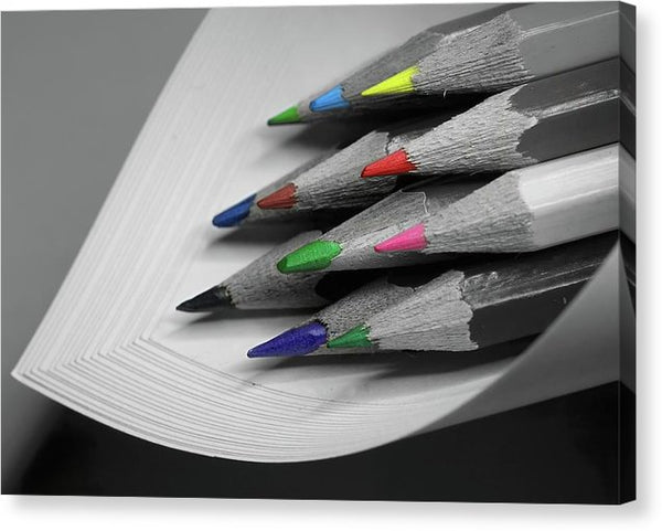 Colored Pencil Tips - Canvas Print from Wallasso - The Wall Art Superstore