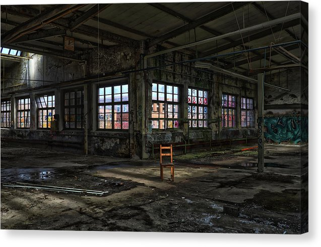 Colorful Abandoned Factory With Single Brown Chair - Canvas Print from Wallasso - The Wall Art Superstore