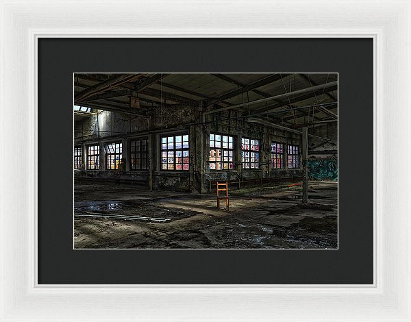 Colorful Abandoned Factory With Single Brown Chair - Framed Print from Wallasso - The Wall Art Superstore