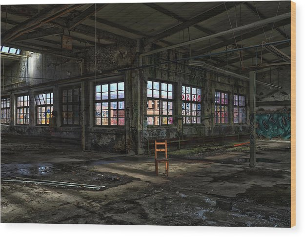 Colorful Abandoned Factory With Single Brown Chair - Wood Print from Wallasso - The Wall Art Superstore