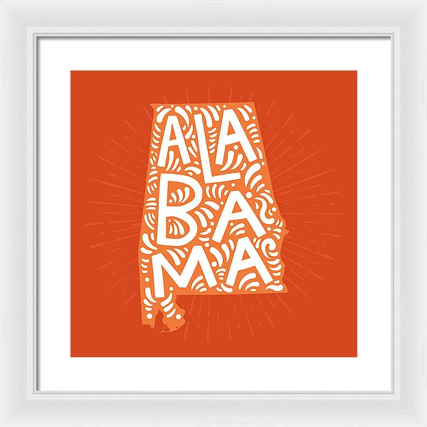 Colorful Alabama State Shape Doodle - Framed Print from Wallasso - The Wall Art Superstore