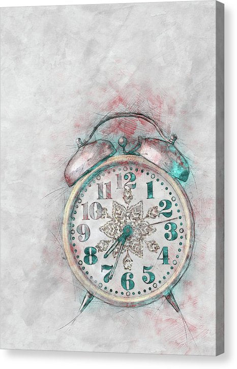 Colorful Alarm Clock Sketch - Canvas Print from Wallasso - The Wall Art Superstore
