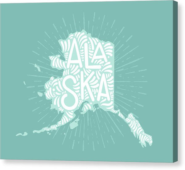 Colorful Alaska State Shape Doodle - Canvas Print from Wallasso - The Wall Art Superstore