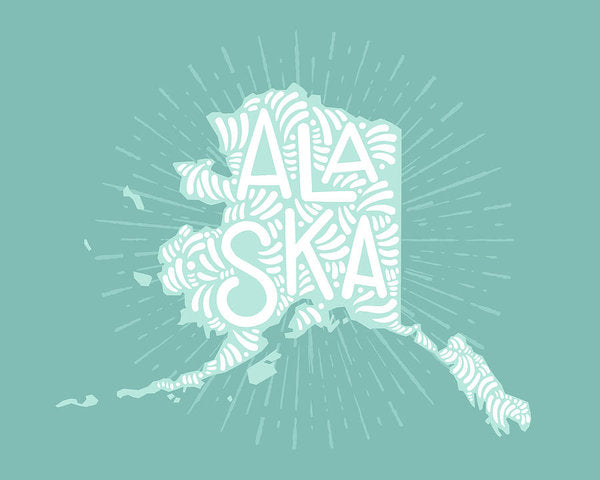 Colorful Alaska State Shape Doodle - Art Print from Wallasso - The Wall Art Superstore