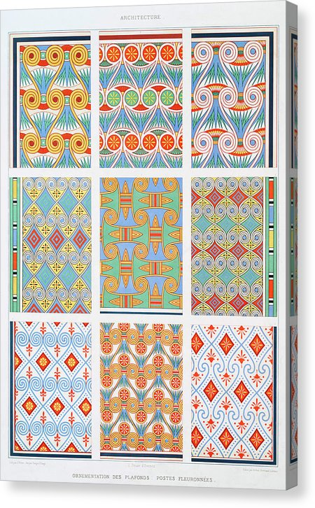 Colorful Antique Ceiling Patterns - Canvas Print from Wallasso - The Wall Art Superstore