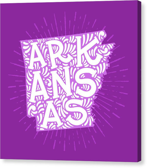 Colorful Arkansas State Shape Doodle - Canvas Print from Wallasso - The Wall Art Superstore